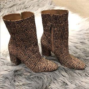 Leopard mid calf bootie